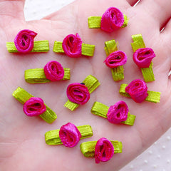 Tiny Rose Bud with Leaf / Mini Satin Ribbon Floral Applique (12pcs / 1.5cm / Dark Pink) Sewing Supplies Floral Decoration Scrapbooking B239