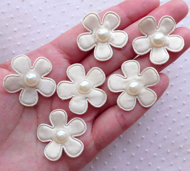 Satin Floral Applique with Pearl Center / Fabric Flower Applique (6pcs / 27mm / Cream White) Floral Jewellery DIY Flower Decoration B243