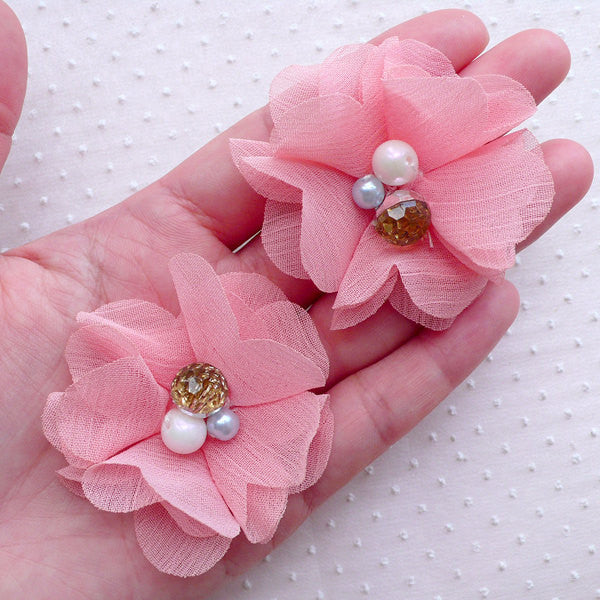 Chiffon Flower with Gem & Pearl / Fabric Flower Applique / Puff Floral Applique (2pcs / 5.5cm / Pink) Hair Accessories Brooch Making B247