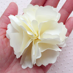 Big Satin Flower Applique / Large Fabric Flowers (1 piece / 7.5cm / White) Wedding Flowers Toddler Bridesmaid Hair Bows Headbands DIY B261