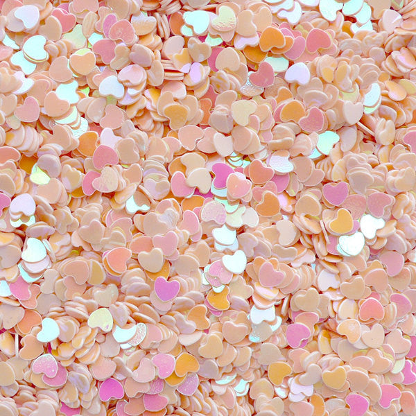 Fake Heart Toppings / Heart Glitter / Heart Sprinkle / Heart Confetti / Heart Sequin / Micro Heart (AB Cream Beige / 3mm / 3g) Nailart SPK60