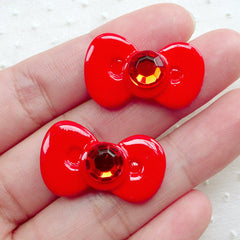 Red Bow with Rhinestone / Resin Bowtie Cabochons (2pcs / 26mm x 16mm) Kawaii Phone Case Decoden Cabochon Cute Embellishment Scrapbook CAB510