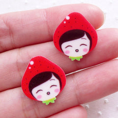 Little Red Riding Hood Cabochons / Girl Head Acrylic Cabochon (2pcs / 17mm x 19mm / Flatback) Phone Decoration Kawaii Scrapbooking CAB511