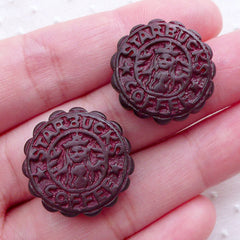 Coffee Moon Cake Cabochons (2pcs / 20mm / Flatback) Kawaii Miniature Mooncake Dollhouse Sweets Decoden Chinese Mid Autumn Festival FCAB332