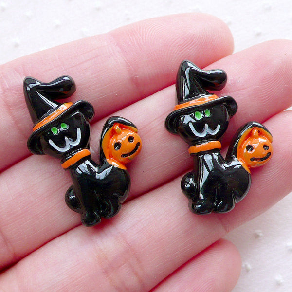Halloween Cabochons (2pcs / 17mm x 27mm / Flat Back) Halloween Party Decoration Spooky Scrapbook Embellishment Phone Case Decoden CAB512