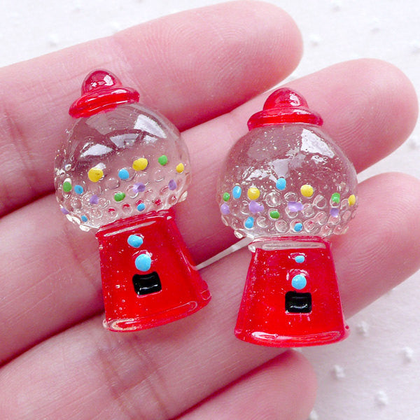 Gumball Machine / Chewing Gum Machine / Coin Slot Machine Cabochon (2pcs / 16mm x 29mm / Flat Back) Kawaii Phone Case Embellishment CAB514