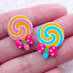 Acrylic Lollipop Cabochons (2pcs / 16mm x 22mm / Mix / Flat Back) Candy Sweets Kawaii Phone Case Decoden Scrapbooking Embellishment FCAB346