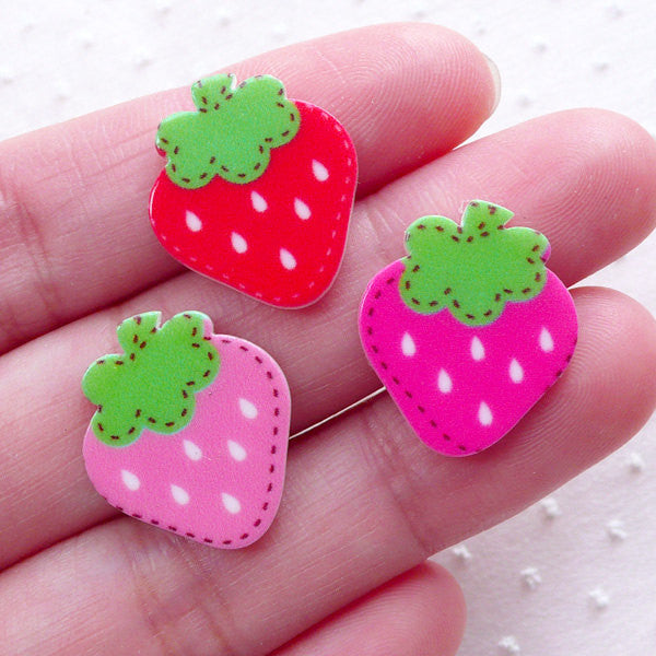 CLEARANCE Acrylic Strawberry Cabochons (3pcs / 16mm x 19mm / Mix / Flatback) Kawaii Fruit Embellishment Phone Case Decoration Cute Scrapbook FCAB349