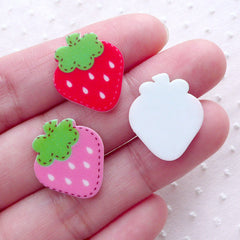 Acrylic Strawberry Cabochons (3pcs / 16mm x 19mm / Mix / Flatback) Kawaii Fruit Embellishment Phone Case Decoration Cute Scrapbook FCAB349