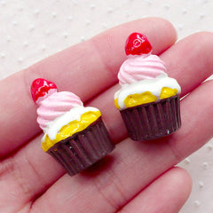Strawberry Cupcake Cabochons w/ Frosting (2pcs / 18mm x 25mm / 3D) Kawaii Miniature Sweets Dollhouse Dessert Whimsy Decoden Supplies FCAB352