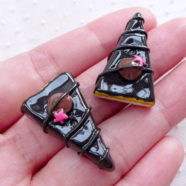 Chocolate Cake Cabochons (2pcs / 17mm x 25mm / Flat Back) Kawaii Dollhouse Sweets Miniature Dessert Novelty Decoden Cute Scrapbook FCAB353