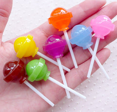 Ball Lollipop Cabochons (7pcs / 21mm x 54mm / Mix / 3D) Kawaii Faux Sweets Fake Candy Pop Whimsical Decoden Cell Phone Decoration FCAB354