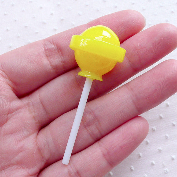 Faux Lemon Lollipop Cabochon (1 piece / 21mm x 54mm / Yellow / 3D) Fake Sweets Candy Phone Case Novelty Decoden Kawaii Jewelry FCAB358