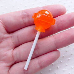 Orange Lollipop Cabochon (1 piece / 21mm x 54mm / 3D) Faux Sweets Candy Novelty Fake Food Cell Phone Deco Kawaii Embellishment FCAB359