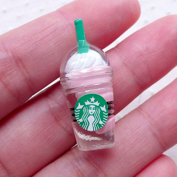 Strawberry Frappuccino Cabochon (1 piece / 13mm x 33mm / Light Pink) Miniature Coffee Drink Dollhouse Frappe Iced Coffee Cup Decoden FCAB336