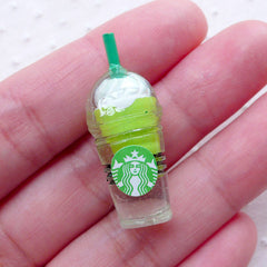 Green Tea Frappe Cabochon (1 piece / 13mm x 33mm) Miniature Iced Coffee Cup Dollhouse Matcha Frappuccino Drink Phone Decoration FCAB338