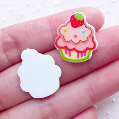 Acrylic Cupcake Cabochons (4pcs / 17mm x 20mm / Mix / Flat Back) Kawaii Sweets Embellishment Cell Phone Deco Cute Decoden Supplies FCAB350