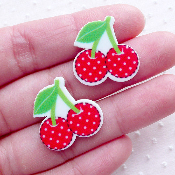 Decora Decoden Piece Acrylic Cherry Cabochons (2pcs / 21mm x 21mm) Fruit Scrapbooking Kawaii Embellishment Cute Cell Phone Deco FCAB351