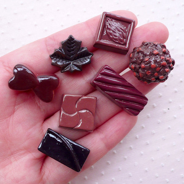 CLEARANCE Assorted Chocolate Cabochon (7pcs / Mix / 3D) Mini Fake Food Kawaii Faux Sweets Deco Whimsical Phone Case Decoden Novelty Decoration FCAB362