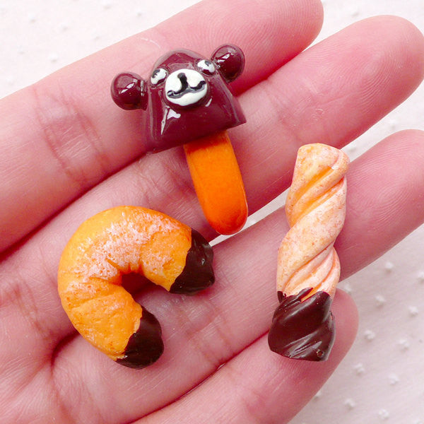 Chocolate Dipped Biscuit Cabochons (3pcs / Assorted Mix) Miniature Sweets Deco Kawaii Phone Case Decoration Novelty Whimsy Decoden FCAB370