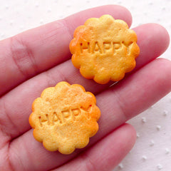 Happy Biscuit Cookie Cabochon (2pcs / 23mm / Flatback) Faux Sweets Craft Dollhouse Food Miniature Treat Dessert Cute Whimsy Decoden FCAB376