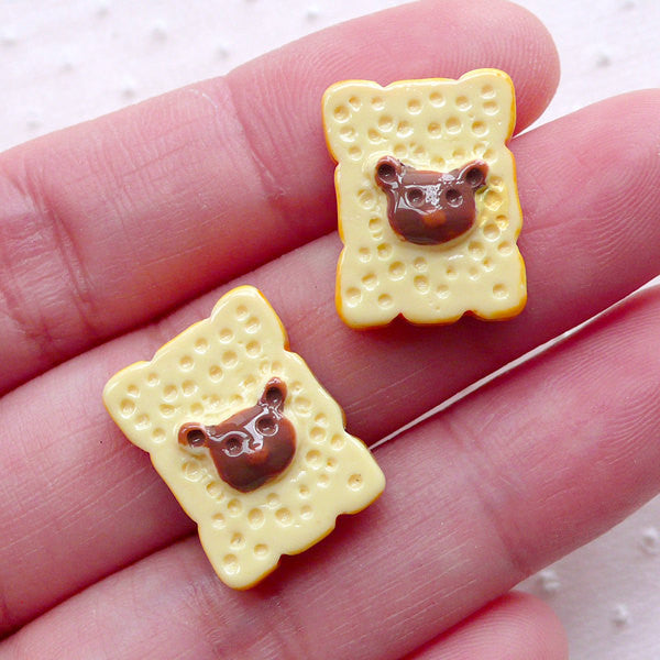 Sliced Bread Cabochons with Bear Pattern (2pcs / 13mm x 17mm / Flat Back) Dollhouse Miniature Bakery Decoden Kawaii Phone Case Decor FCAB379