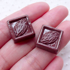 Almond Chocolate Cabochons (2pcs / 16mm / 3D) Fake Belgium Chocolate Kawaii Mini Sweets Phone Case Deco Whimsy Decoden Scrapbooking FCAB364