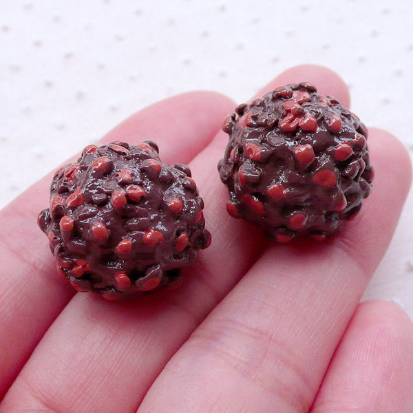 Chocolate Truffles w/ Hazelnuts Cabochon (2pcs / 19mm x 15mm / 3D) Faux Candy Imitation Food Kawaii Sweets Deco Whimsy Embellishment FCAB367