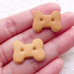 Bone Biscuit Cabochon (2pcs / 21mm x 16mm / Flat Back) Fake Sweets Craft Dollhouse Treat Miniature Food Decoden Whimsy Embellishment FCAB377