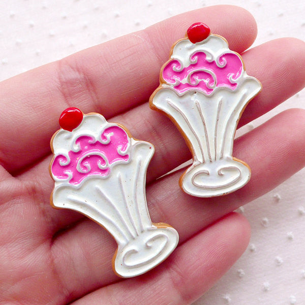 CLEARANCE Royal Icing Sugar Cookie Cabochon with Ice Cream Sundae Pattern (2pcs / 24mm x 37mm / Flatback) Kawaii Mini Treat Faux Food Decoden FCAB378