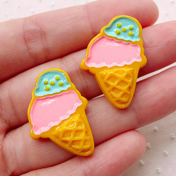 Ice Cream Sugar Cookies / Royal Icing Cookie Cabochon (2pcs / 20mm x 28mm / Flat Back) Kawaii Decoden Case Making Faux Sweets Deco FCAB380