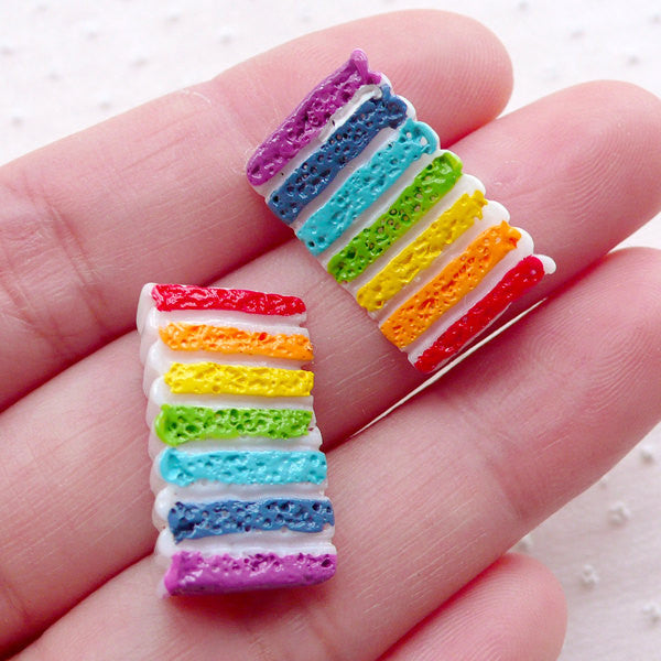 Rainbow Cake Cabochons (2pcs / 13mm x 21mm / Flatback) Dollhouse Food Craft Miniature Sweets Mini Dessert Kawaii Phone Case Decoden FCAB384