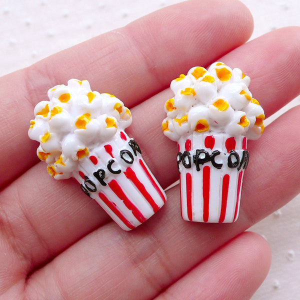Popcorn Cabochons (2pcs / 18mm x 28mm / Flat Back) Miniature Snack Dollhouse Food Movie Theatre Cinema Novelty Whimsical Whimsy Deco FCAB385