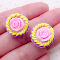 Miniature Rose Cupcake Cabochons / Polymer Clay Flower Cupcake (2pcs / 17mm x 14mm / 3D) Miniature Dessert Fimo Dollhouse Sweets FCAB386