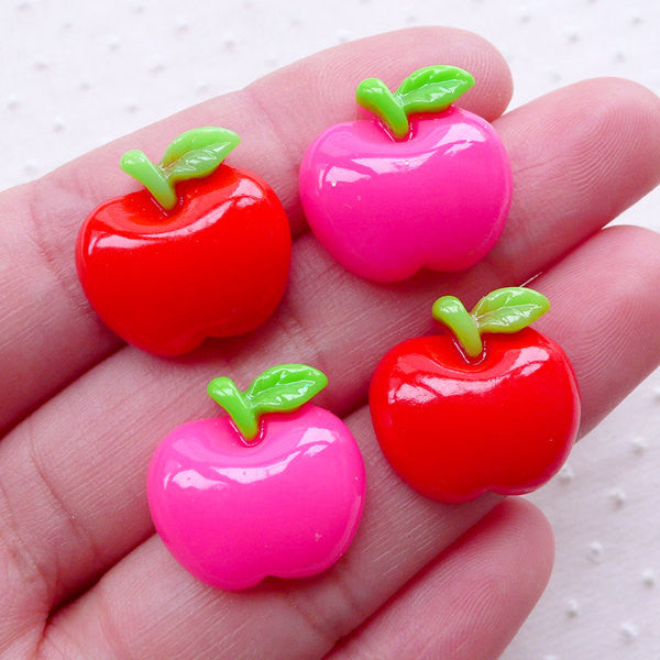 Kawaii Apple Cabochons (4pcs / 17mm x 16mm / Red & Pink / Flat Back) Fruit Embellishment Cute Decoden Phone Case Kawaii Scrapbooking FCAB395