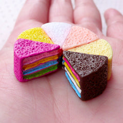 Assorted Rainbow Cake Cabochons (6pcs / 13mm x 16mm / Mix / 3D) Dollhouse Sweets Miniature Dessert Kawaii Embellishment Phone Decor FCAB396