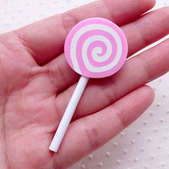 Swirl Lollipop Cabochon / Strawberry Peppermint Candy Cabochon (1 piece / 25mm x 58mm / Pink) Faux Candy Embellishment Fake Food FCAB388