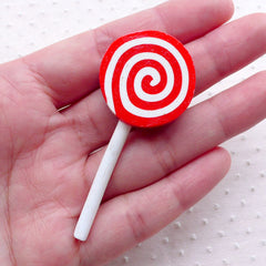 Peppermint Lollipop Cabochon / Fake Swirl Candy Cabochon (1 piece / 25mm x 58mm / Red) Faux Sweets Decoration Kawaii Phone Case Deco FCAB389
