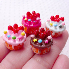 Miniature Cake Cabochons (4pcs / 16mm x 14mm / Assorted Mix / 3D) Kawaii Dollhouse Sweets Decoden Phone Case DIY Whimsical Jewellery FCAB390