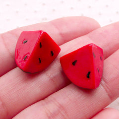 Miniature 3D Watermelon Cabochons (2pcs / 17mm x 15mm / Red) Dollhouse Fruit Mini Food Craft Kawaii Embellishment Cell Phone Deco FCAB408
