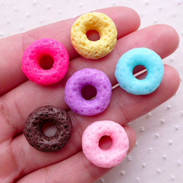Assorted Doughnut Cabochons Miniature Donut Cabochon (6pcs / 16mm / Mix / Flat Back) Dollhouse Bakery Mini Sweets Decoden Craft FCAB407