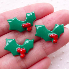 Christmas Holly Leaves Cabochons (3pcs / 20mm x 14mm / Flatback) Christmas Card Making Scrapbook Favor Embellishment Party Decoration CAB516