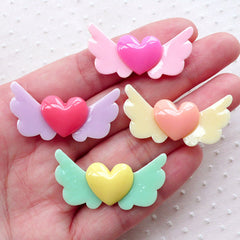 Angel Winged Heart Cabochons (4pcs / 35mm x 17mm / Assorted Mix / Flatback) Decoden Phone Case Cute Embellishment Kawaii Decoration CAB518