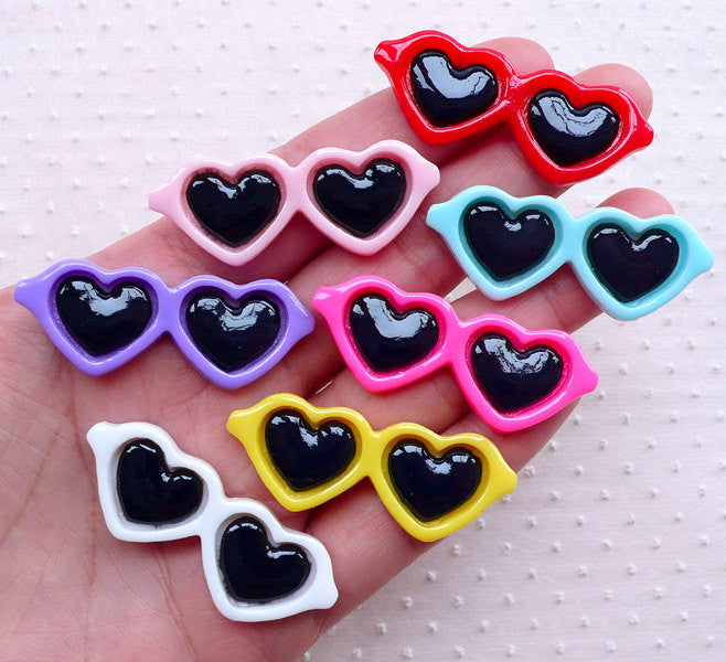 Decoden Heart Sunglasses Cabochons (7pcs / 42mm x 17mm / Assorted Mix / Flat Back) Kawaii Embellishment Summer Beach Lolita Eyewear CAB522