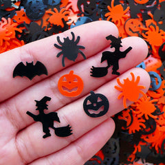 Halloween Confetti Spider Witch Pumpkin Bat Sequin (120-150pcs / Black & Orange / 4g) Scrapbooking Resin Cabochon DIY Party Decoration SPK89