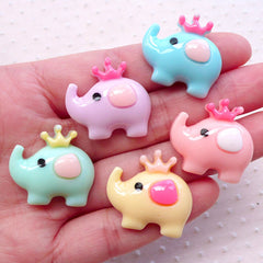 Kawaii Elephant Cabochons Cute Animal Cabochon (5pcs / 24mm x 23mm / Assorted Mix / Flatback) Baby Shower Embellishment Table Scatter CAB521