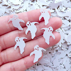 Ghost Confetti Halloween Sequin (100pcs / 17mm x 16mm / White / 4g) Card Making Resin Epoxy Jewelry DIY Table Scatters Embellishment SPK90