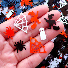 Halloween Sequin Spider Web Ghost Witch Confetti (100-120pcs / Black, Orange & White / 4g) Die Cut Scrapbook Halloween Table Scatters SPK91