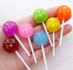 CLEARANCE Assorted Lollipop Cabochons w/ Face (7pcs / 20mm x 57mm / Mix / 3D) Kawaii Faux Sweets Candy Whimsy Embellishment Decoden Phone Case FCAB417