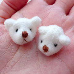 Fabric Bear Head / Kawaii Fabric Toy Animal Doll (2pcs / 25mm x 20mm) Baby Shower Decoration Cute Embellishment Sewing Jewelry DIY CAB524